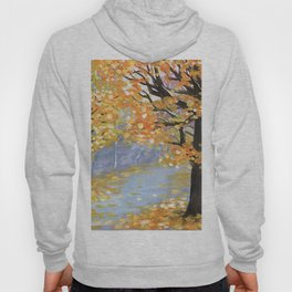 Gouache autumn landscape. Golden fall in an empty city park with wet paths and fallen leaves Hoody