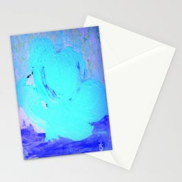 Neon Winter Rose, Abstract In Nature, Ice Blue Stationery Cards