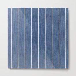 Denim Blue with White Pinstripes Metal Print