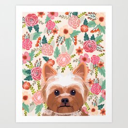 Yorkshire Terrier floral dog portrait pink cute art gifts for yorkie dog breed lovers Art Print