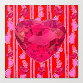 PINK JEWELED RED VALENTINE HEARTS  DESIGN Canvas Print