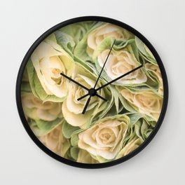 Greenyellow roses Wall Clock