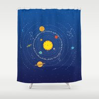 solar system Shower Curtains featuring Solar System by Lalu - Laura Vargas