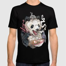 Panda Eating Ramen In A Tin Foil hat 2X-LARGE Black Mens Fitted Tee