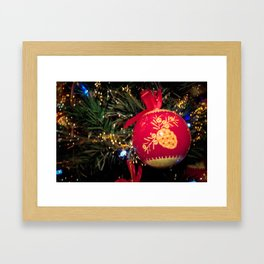 Red Christmas ball with retro ornament on Christmas tree Framed Art Print