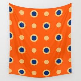 Polka Dot Pattern 241 Orange Blue Wall Tapestry