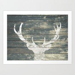 Rustic White Deer Silhouette Teal Wood A311 Art Print