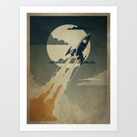 rocket Art Prints featuring Night Launch by Danny Haas
