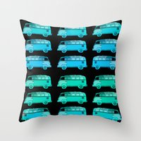 vans Throw Pillows featuring Blue Surfer Vans by Edward M. Fielding