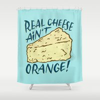 cheese Shower Curtains featuring Real Cheese by Josh LaFayette