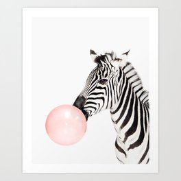 Zebra, Bubble gum, Pink, Animal, Nursery, Minimal, Trendy decor, Interior, Wall art Art Print