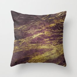 Classic Vintage Eggplant-Plum Faux Marble With Gold Veins Throw Pillow