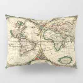 Old map of world (both hemispheres) Pillow Sham