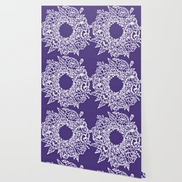 White Flowery Linocut Wreath On Checked UltraViolet Wallpaper