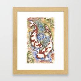 Koi Fish Watercolor Painting Framed Art Print