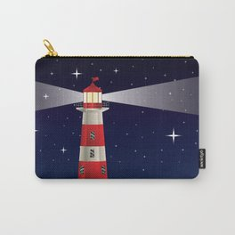 Cartoon landscape with lighthouse night sea and starry sky Carry-All Pouch