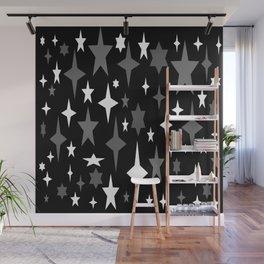 Black Gray White Atomic Stars Wall Mural