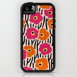 Mid Century Modern Wild Flowers Pattern Pink and Orange iPhone Case