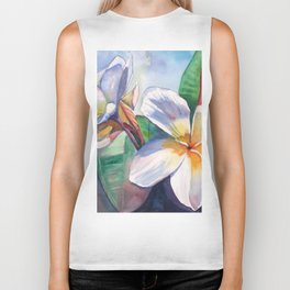 Tropical Plumeria Flowers Biker Tank