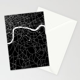 Black on White London Street Map II Stationery Cards
