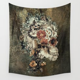Skull on old grunge Wall Tapestry