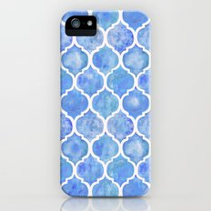 Cornflower Blue Moroccan Hand Painted Watercolor Pattern iPhone (5, 5s) Slim Case