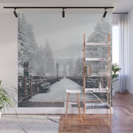 New York City and Brooklyn Bridge Winter/Christmas Wall Mural