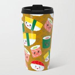 pattern Kawaii funny sushi set with pink cheeks and big eyes, emoji on brown mustard background Travel Mug