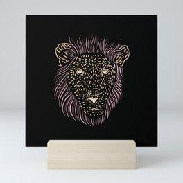 Shaggy Lion - Funny Male Big Cat - Hand Drawn Lion Head Mini Art Print