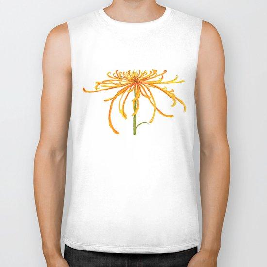 one orange chrysanthemum Biker Tank