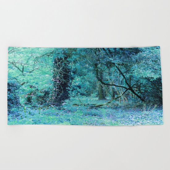 Aqua Teal Tree Landscape Beach Towel
