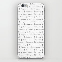 Classical Music Composers, pattern, Mozart, Beethoven, Chopin iPhone Skin