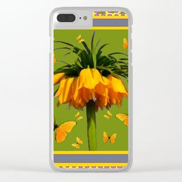 DECORATIVE GREEN & YELLOW CROWN IMPERIAL BUTTERFLIES Clear iPhone Case