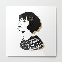Millionaire Quote - Dorothy Parker - Black & Gold Metal Print