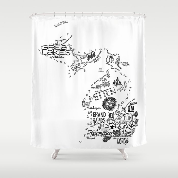 Michigan - Hand Lettered Map Shower Curtain