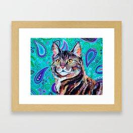 Tabby Cat on Paisley Framed Art Print