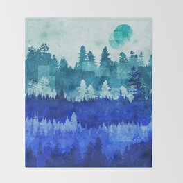 The Blue Forest Moon Throw Blanket