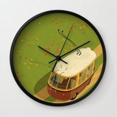 Trolley Rides The Field Wall Clock