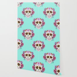 Sugar Skull with Flowers on Turquoise Wallpaper