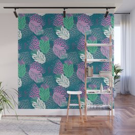 Firework textured floral on a blue/green base Wall Mural