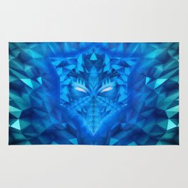 Deep Ice Blue - Sub Zero Transformers Wolf Mask Portait  Rug