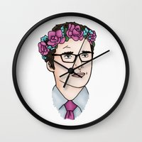 wesley bird Wall Clocks featuring Flower Crown James Wesley by HayPaige