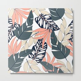 Summer seamless tropical pattern with bright plants and leaves on a white background. Exotic jungle wallpaper. Modern abstract design for fabric, paper, interior decor. Metal Print