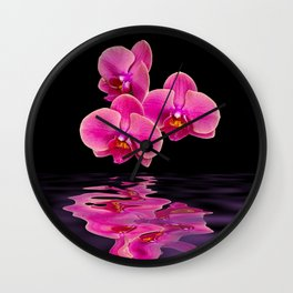 Mystical Pink Orchids Reflections Wall Clock