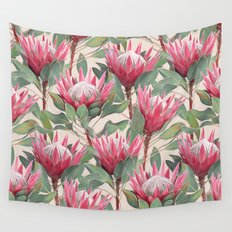 Painted King Proteas on cream Wall Tapestry