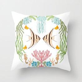 Folk art Sea Life Throw Pillow