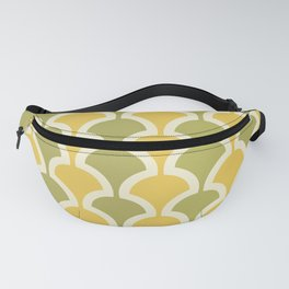 Classic Fan or Scallop Pattern 431 Olive Green and Yellow Fanny Pack