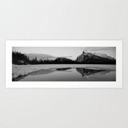 Banff Alberta, Rundle Mountain in  BLACK AND WHITE Art Print