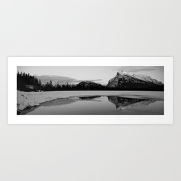 Banff Alberta, Rundle Mountain in  BLACK AND WHITE Art Print