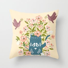 Happy Birds Making Things Beautiful Together Throw Pillow